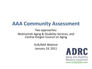 AAA Community Assessment