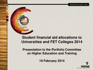 Student financial aid allocations to Universities and FET Colleges 2014