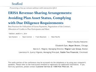 ERISA Revenue-Sharing Arrangements:  Avoiding Plan Asset Status, Complying