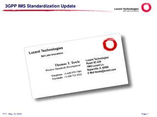3GPP IMS Standardization Update