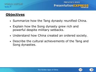 Summarize how the Tang dynasty reunified China.