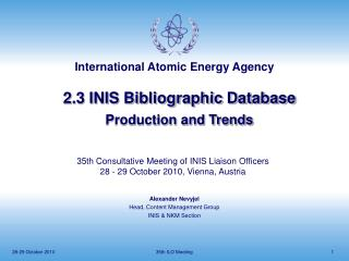 2.3 INIS Bibliographic Database Production and Trends