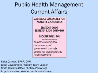 Public Health Management Current Affairs