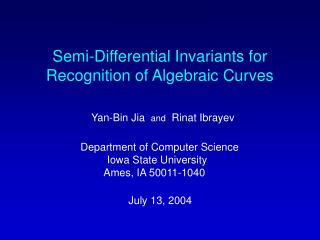 Semi-Differential Invariants for Recognition of Algebraic Curves