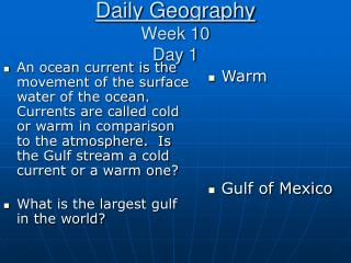 Daily Geography Week 10 Day 1