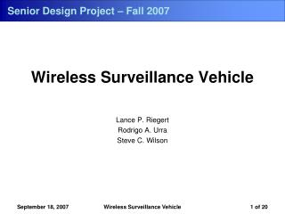Senior Design Project – Fall 2007
