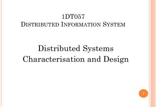 1DT057 Distributed Information System