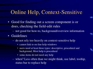 Online Help, Context-Sensitive