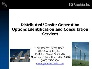 Distributed/Onsite Generation Options Identification and Consultation Services