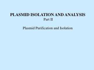PLASMID ISOLATION AND ANALYSIS Part II Plasmid Purification and Isolation