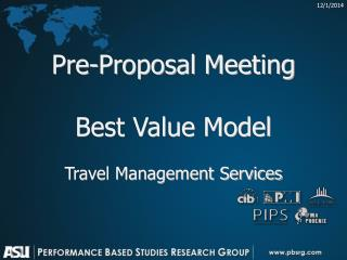 Pre-Proposal Meeting Best Value Model Travel Management Services