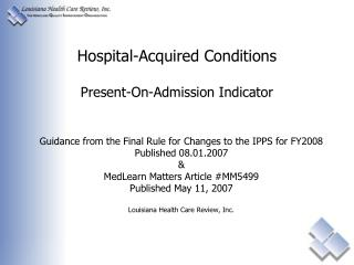 Hospital-Acquired Conditions Present-On-Admission Indicator