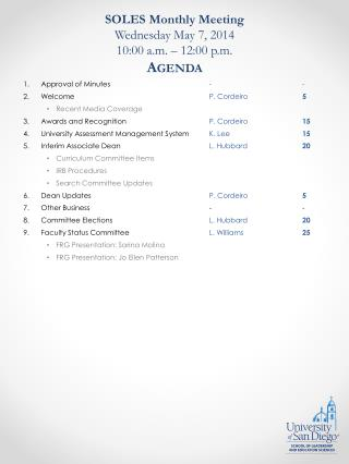SOLES Monthly Meeting Wednesday May  7, 2014 10:00 a.m. – 12:00 p.m. Agenda
