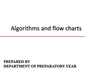 Algorithms and flow charts