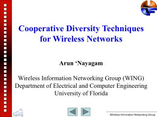 Cooperative Diversity Techniques for Wireless Networks