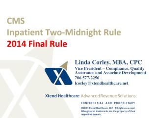 CMS Inpatient Two-Midnight Rule 2014 Final Rule