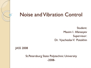 Noise and Vibration Control