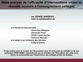 par DENISE BARBEAU 	avec la collaboration de