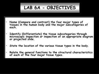 LAB 6A - OBJECTIVES