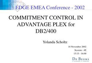 COMMITMENT CONTROL IN ADVANTAGE PLEX for DB2/400