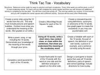 Think Tac Toe - Vocabulary