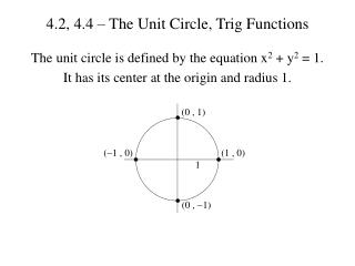 4.2, 4.4 – The Unit Circle, Trig Functions
