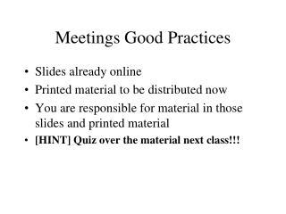 Meetings Good Practices
