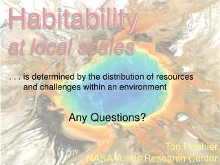 Habitability at local scales