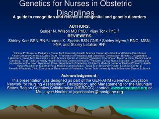 Genetics for Nurses in Obstetric Disciplines