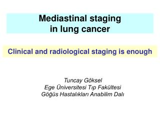 Mediastinal staging  in lung cancer