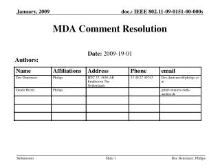MDA Comment Resolution