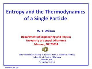 Entropy and the Thermodynamics of a Single Particle