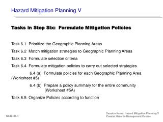 Hazard Mitigation Planning V Session Name: Hazard Mitigation Planning V