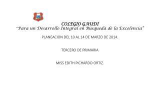 """COLEGIO  GAUDI """" Un Desarrollo Integral en Búsqueda de la Excelencia"""