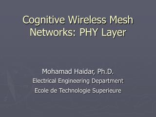 Cognitive Wireless Mesh Networks: PHY Layer