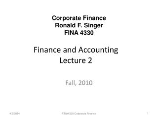 Finance and Accounting  Lecture 2