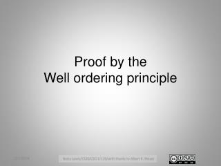 Proof by the Well ordering principle
