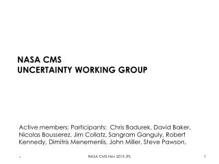 NASA CMS uncertainty working group