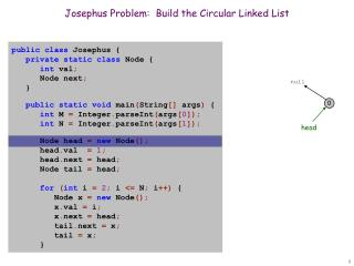 Josephus Problem:  Build the Circular Linked List