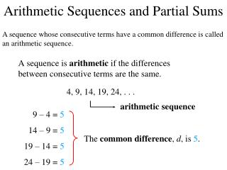 Arithmetic Sequences and Partial Sums