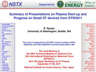 Summary of Presentations on Plasma Start-up and Progress on Small ST devices from STW2011