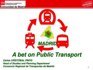 A bet on Public Transport Carlos CRIST BAL PINTO Head of Studies and Planning Department Consorcio Regional de Transport