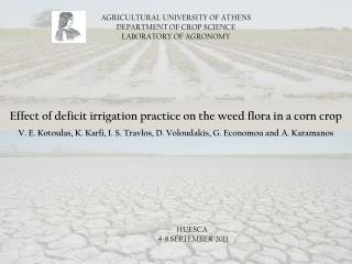 AGRICULTURAL UNIVERSITY OF ATHENS DEPARTMENT OF CROP SCIENCE LABORATORY OF AGRONOMY