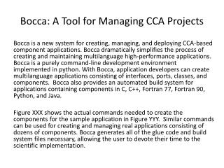 Bocca: A Tool for Managing CCA Projects