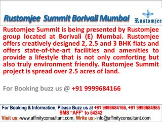 Rustomjee Summit Apartments @9999684166 Borivali East Mumbai