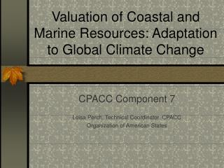 Valuation of Coastal and Marine Resources: Adaptation to Global Climate Change