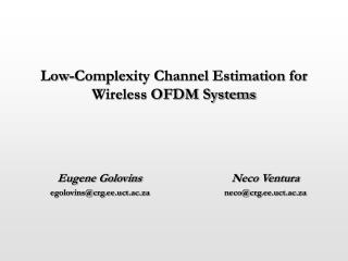 Low-Complexity Channel Estimation for Wireless OFDM Systems