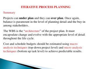ITERATIVE PROCESS PLANNING Summary