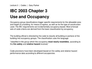 IBC 2003 Chapter 3 Use and Occupancy