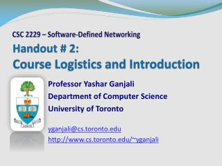 Handout  # 2: Course Logistics and Introduction
